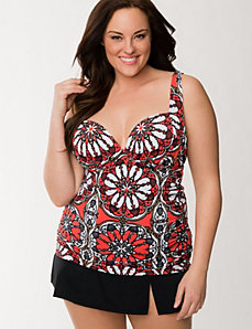 Medallion swim tank with built-in plunge bra