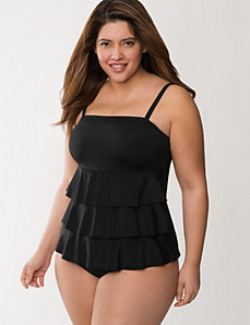 Tiered ruffle swim tank  by LANE BRYANT