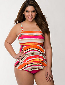 Striped tiered ruffle swim tank  by LANE BRYANT
