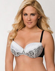Pleated satin & lace demi bra