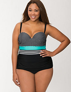 Mixed print maillot with built-in balconette bra by LANE BRYANT