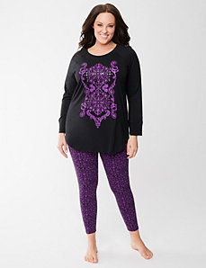 Scroll print legging PJ set by LANE BRYANT