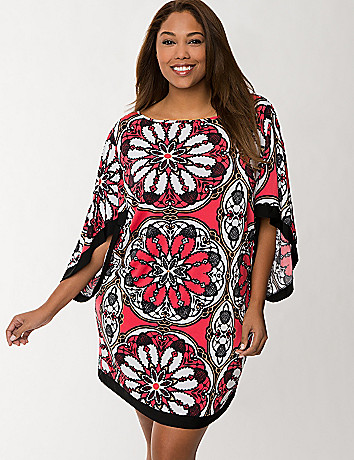 Medallion print kimono swim cover up