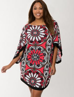 Medallion print kimono swim cover-up