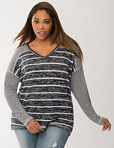 Mixed stripe knit top by Seven7