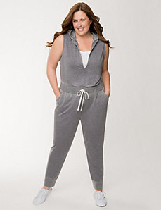 French terry hooded jumpsuit by LANE BRYANT