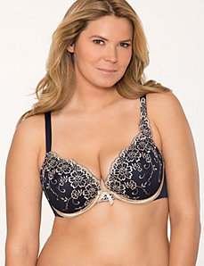 Floral embroidered plunge bra by LANE BRYANT