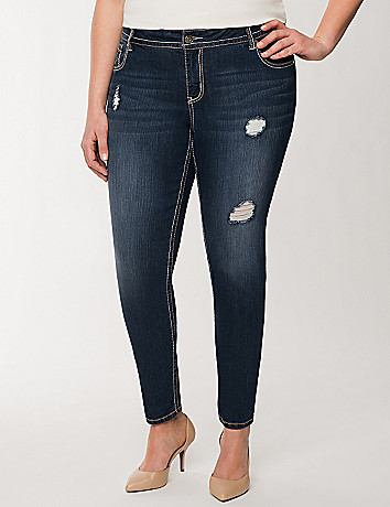 Destructed skinny ankle jean