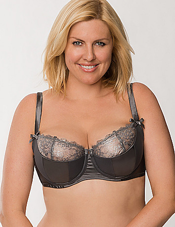 Shimmer lace French balconette bra