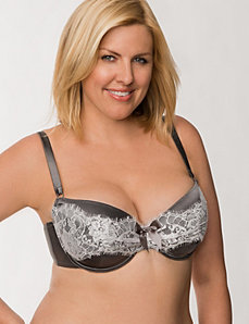 Draped lace satin demi bra by LANE BRYANT