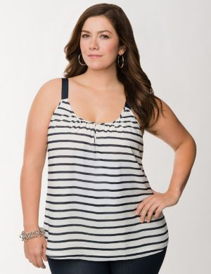 Striped grosgrain tank