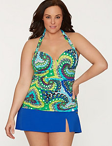 Medallion swim top with built-in balconette bra