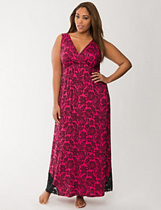 Tru to You lace print maxi lounger by LANE BRYANT