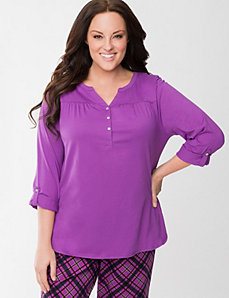 Rolled sleeve sleep top by LANE BRYANT