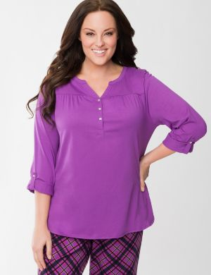 Rolled sleeve sleep top