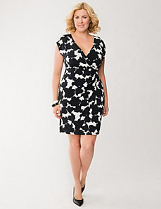 Printed surplice dress