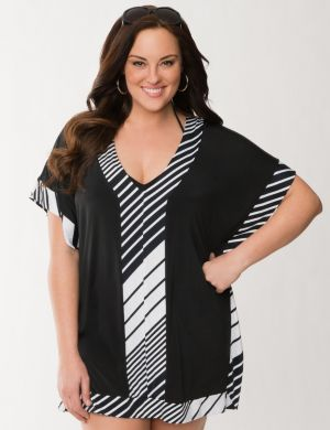 Striped tunic swim cover-up