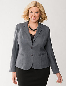Tailored Stretch muted plaid jacket by LANE BRYANT