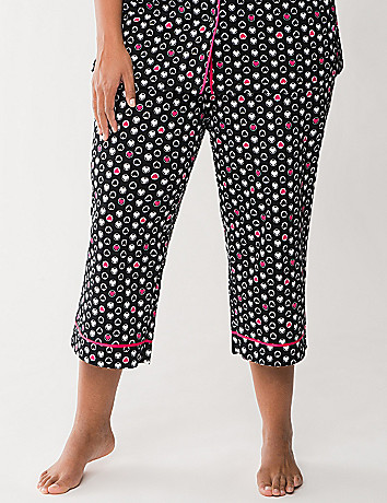Heart print cropped sleep pant