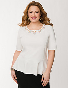 Embellished ponte peplum top by LANE BRYANT