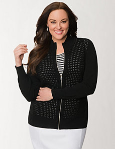 Zip front sweater jacket by LANE BRYANT