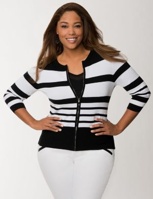 Striped zip cardigan