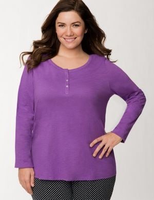 Henley slub sleep top