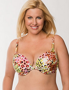 Animal print plunge bikini top by LANE BRYANT