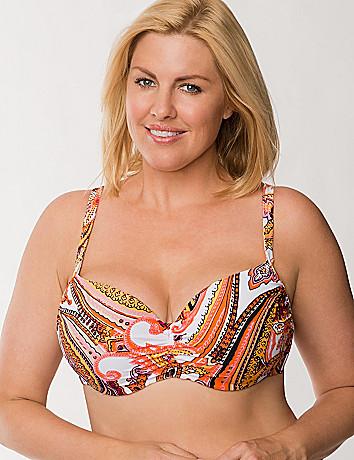 Scarf print balconette bikini top