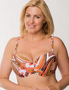 Scarf print balconette bikini top by LANE BRYANT