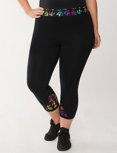 Active capri with LB printed waist by LANE BRYANT