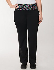 Active pant with techno printed waist by LANE BRYANT