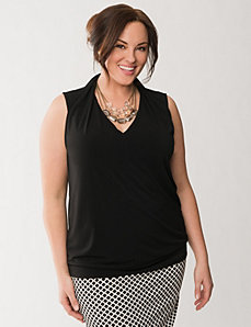 Pleated shoulder shell by LANE BRYANT