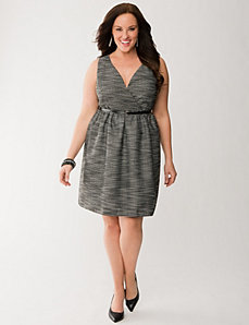 Boucle surplice dress by LANE BRYANT