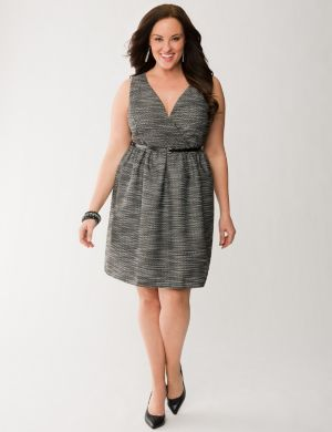 Boucle surplice dress
