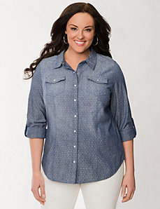 Birdseye denim shirt by LANE BRYANT