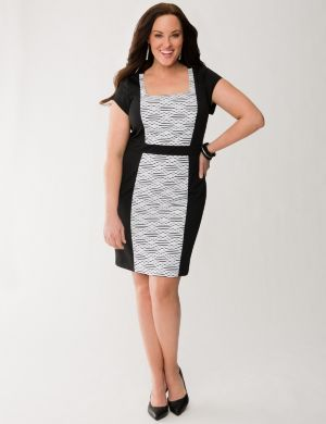 Textured panel sheath dress