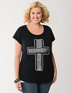 Cut-out cross tee