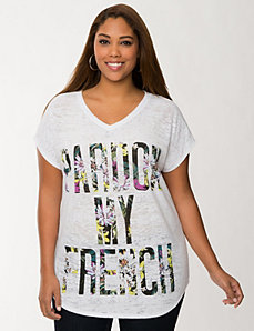 Pardon my French burnout tee by LANE BRYANT