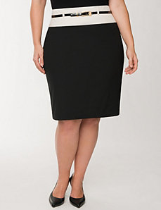 Soft twill belted pencil skirt by LANE BRYANT