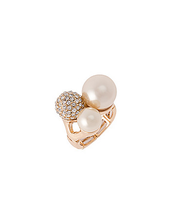 Faux pearl cluster ring by Lane Bryant