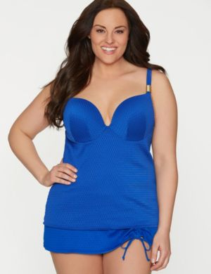 Textured swim top with built-in plunge bra