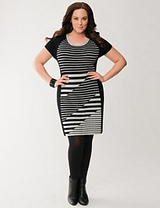 Lane Collection striped sweater dress
