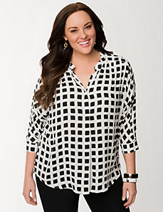 Checkered tunic blouse by LANE BRYANT