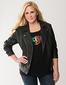 Quilted side moto jacket by LANE BRYANT