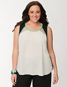 Cut-out shell with piping by LANE BRYANT