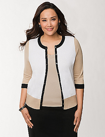 3/4 sleeve colorblock cardigan