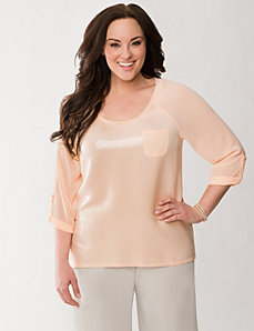 Sequined raglan top by LANE BRYANT
