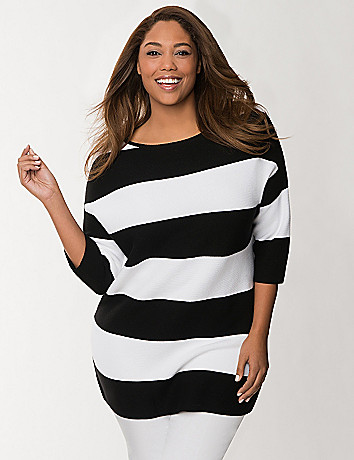 Zip back striped sweater