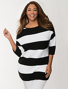 Zip-back striped sweater by LANE BRYANT